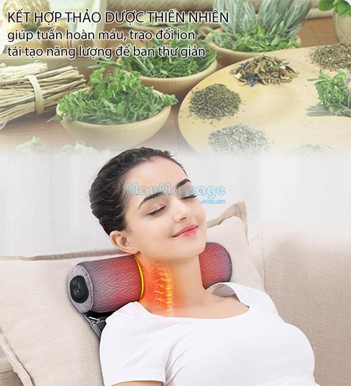 Gối massage cổ sử dụng thảo dược tự nhiên Mingzhen MZ-MR053