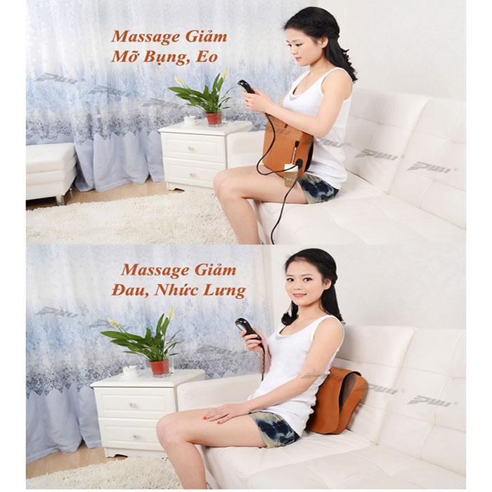 Gối massage đấm bóp lưng hồng ngoại PULI