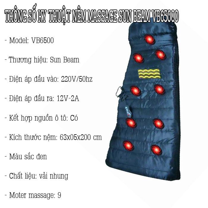 Sun Beam VB6500 Nệm massage toàn thân rung và nóng