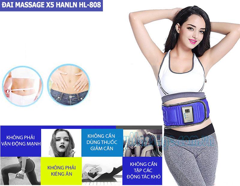 Đai massage bụng X5 Hanln HL-808 có đèn hồng ngoại
