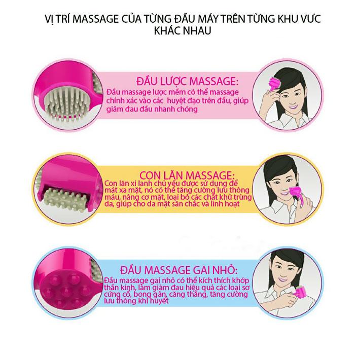 Cây lăn massage cầm tay 3 đầu Brain B09