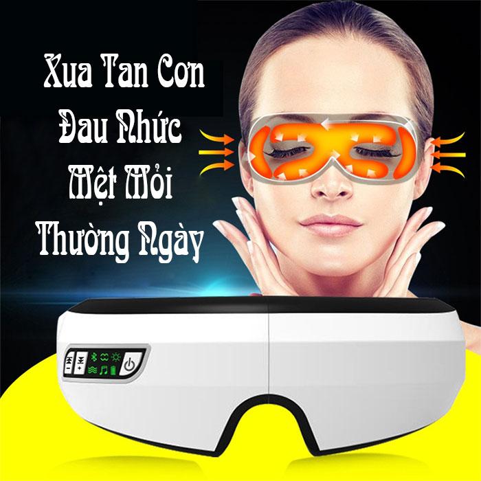 Máy massage mắt thông minh kết nối Bluetooth màu trắng