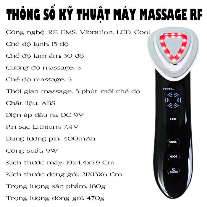 Máy massage mặt điện di RF làm đẹp da màu đen