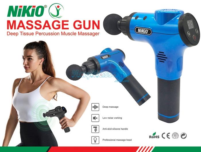 Súng massage cầm tay 6 đầu Nhật Bản Nikio NK-170B - Màu xanh