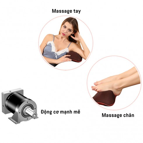 Gối massage hồng ngoại 4 bi Magic Energy Pillow Puli PL-818
