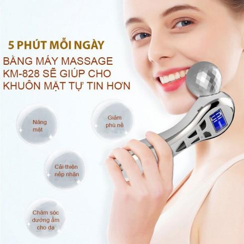 Máy massage nâng cơ mặt điện di tạo cằm V line pin sạc 4D KM-828 - Hàn Quốc
