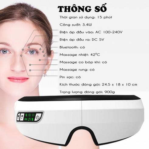 Máy massage mắt áp suất khí tạo nóng kết nối Bluetooth nghe nhạc