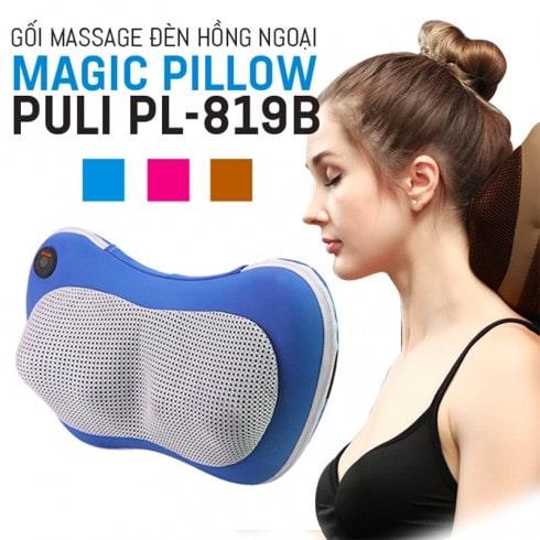 Gối massage hồng ngoại 6 bi Pillow Puli PL-819B