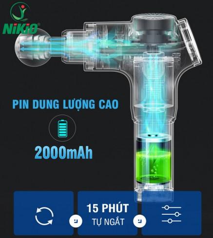 Súng massage cầm tay 4 đầu 6 cường độ pin sạc Nikio NK-170A màu xanh dương
