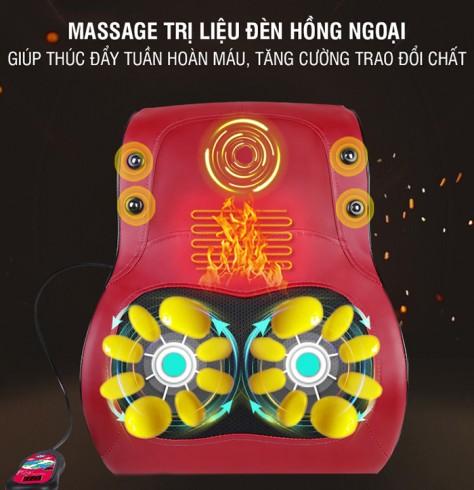 Máy massage lưng 4 chức năng Xoay rung nóng hồng ngoại YJ-M6