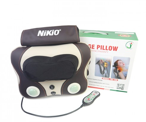 Máy (gối) massage đấm bóp trị đau lưng cổ vai gáy pin sạc Nikio NK-136DC
