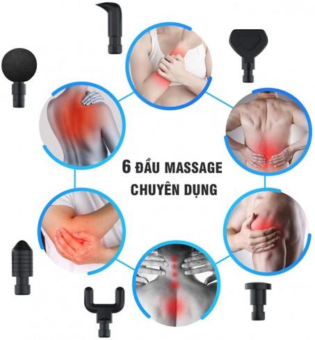 Súng massage cầm tay giãn cơ 6 đầu Magic Gun 20 tốc độ đấm