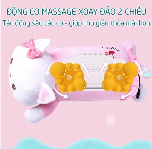 Gối massage cổ vai gáy xoay đảo 2 chiều 360 độ pin sạc YIJIA YJ-68
