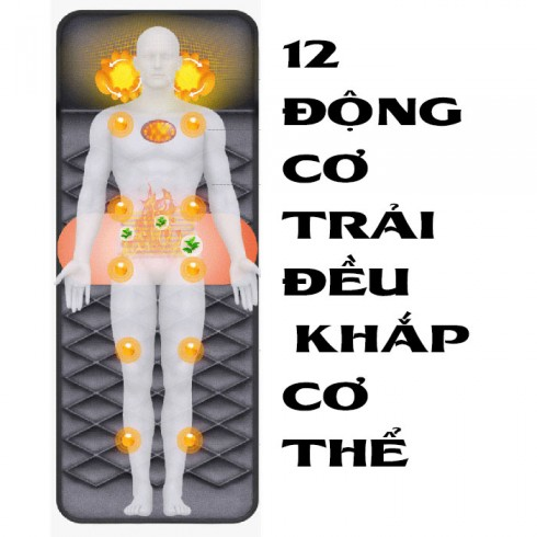 Nệm massage toàn thân cao cấp có túi khí và tạo nóng YJ-306G