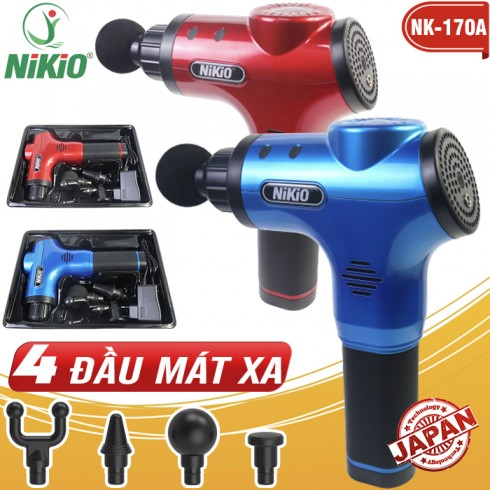 Súng massage cầm tay 4 đầu 6 cường độ pin sạc Nikio NK-170A màu đỏ
