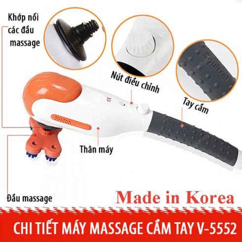Máy massage cầm tay nhập khẩu Hàn Quốc Squirrel V-555 - 5 đầu